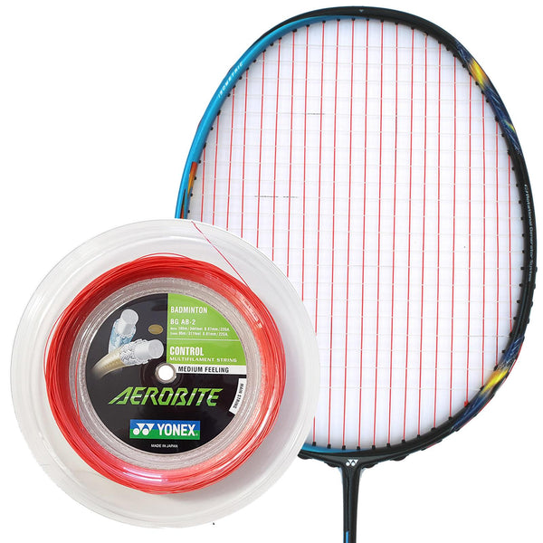 Yonex AeroBite Badminton String White Red - 0.67/0.61MM 200m Reel