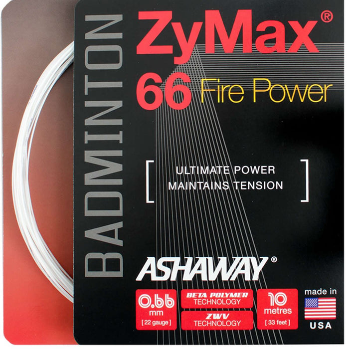 Ashaway Zymax 66 Fire Badminton String White  - 0.66MM - 10m Packet