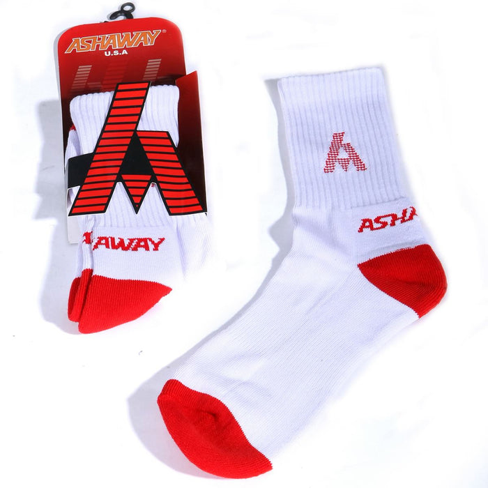 Ashaway Badminton Socks - White / Red Badminton HQ