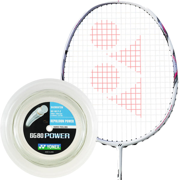 Yonex BG 80P Badminton String White - 0.68mm 200m Reel