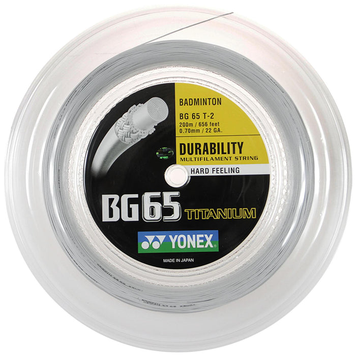 Yonex BG 65 Ti Badminton String White - 0.7mm 200m Reel