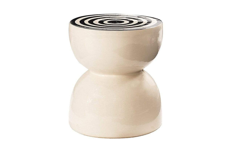 BLACK CIRCLE SIDES CERAMIC TIME STOOL/ACCENT TABLE