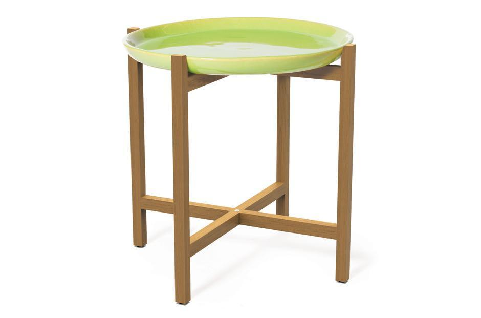 APPLE GREEN IBIS CERAMIC AND TEAK ACCENT TABLE