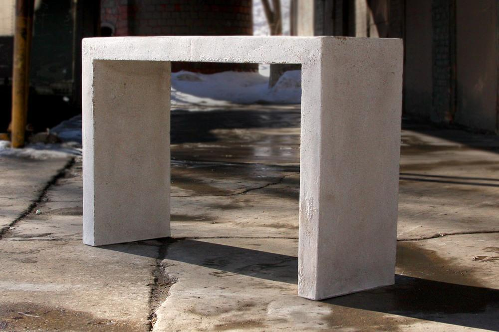 SMALL / NATURAL LYNNE TELL CEMENT CONSOLE TABLE