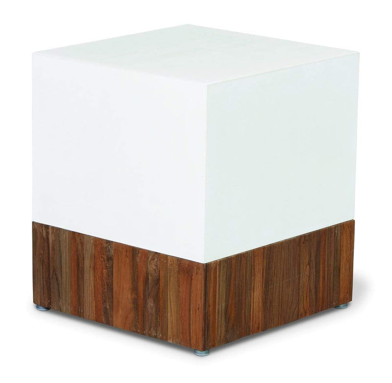 Ivory White Base with Teak Top PERPETUAL TEAK MAGIC CUBE