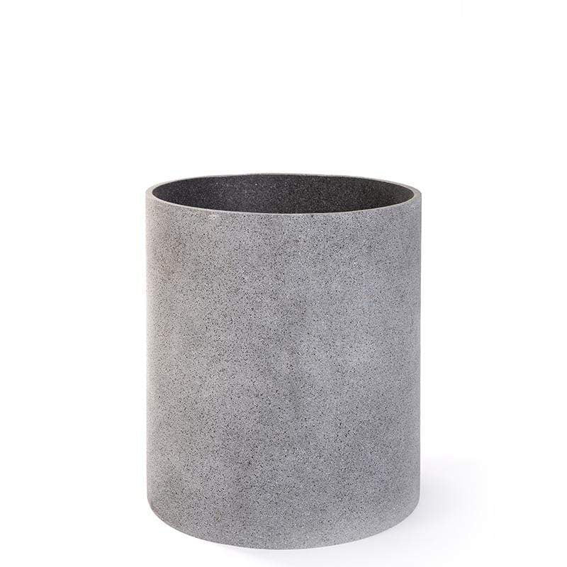POLY STONE GREY CYLINDER PLANTERS