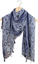 Load image into Gallery viewer, Scarf/Sarong Blue Feather