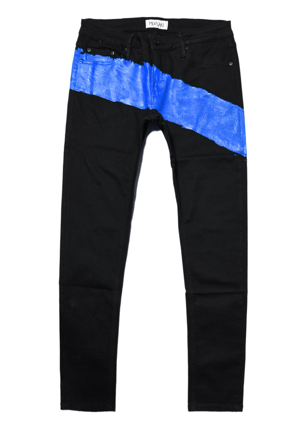 The Mursaki Stripe Jean - Black/Blue