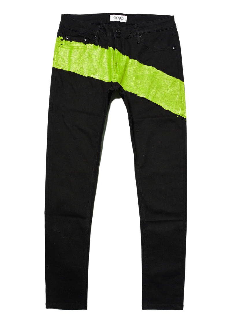 The Mursaki Stripe Jean - Black/Lime