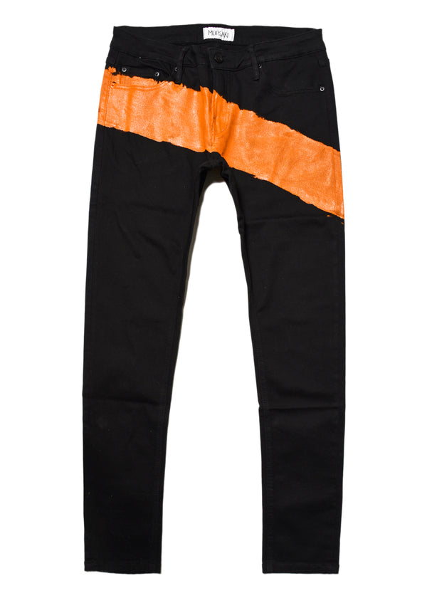 The Mursaki Stripe Jean - Black/Orange
