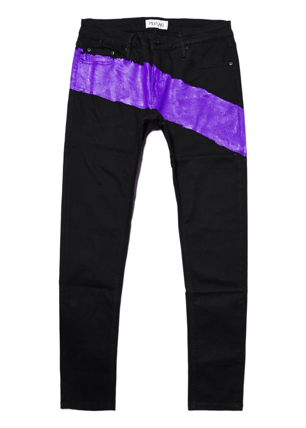 The Mursaki Stripe Jean - Black/Purple