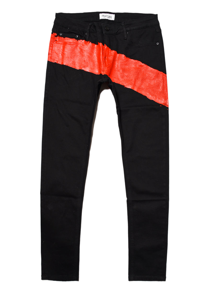 Mursaki Stripe Jean - Black/Color