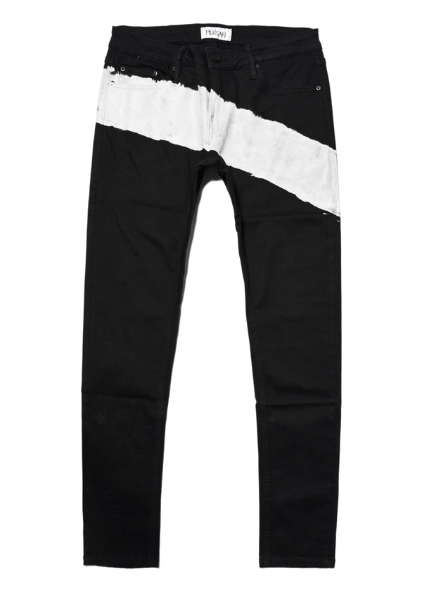 The Mursaki Stripe Jean - Black/White