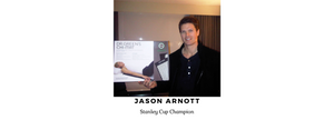 Jason Arnott, Stanley Cup Champion, holding the Chi-mat box, containing one acupressure mat.