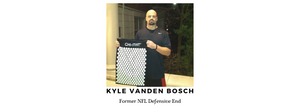 Kyle Vanden Bosch, Former NFL Defensive End holding his Chi-mat Acupressure massage mat.