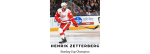 Henrik Zetterberg, NHL Stanley Cup Champion in uniform on the ice. He helped create the Chi-mat acupressure mat.