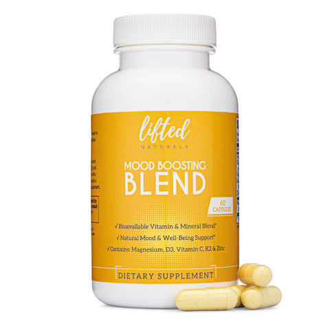 Mood Boosting Blend - Vitamin/Mineral Combo: Vitamin D from Lichens, K2 (MK7), Magnesium Glycinate, Zinc, Vitamin C (Natural Bioflavonoids)