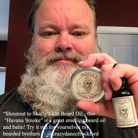 havana smoke tobacco beard oil and balm -skullys ctz beard oil