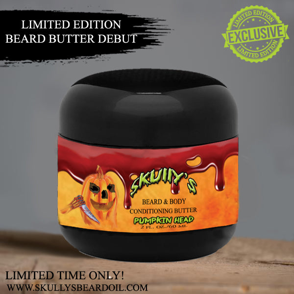 Pumpkin Head (Halloween Limited Edition) Beard & Body Conditioning Butter 2 oz. Available until October 31st by Skully's Beard Oil, beard butter, beard conditioner, the best beard butter