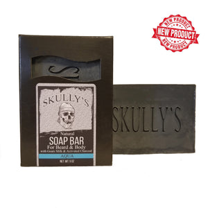 Skully's Aqua Beard & Body Activated Charcoal Bar Soap, soap bar, goats milk soap, bar soap, unscented soap bar, beard soap, body bar, best beard soap, beard bar soap, natural soap bar, natural bar soap, natural beard soap, activated charcoal soap, charcoal soap bar, beard charcoal soap