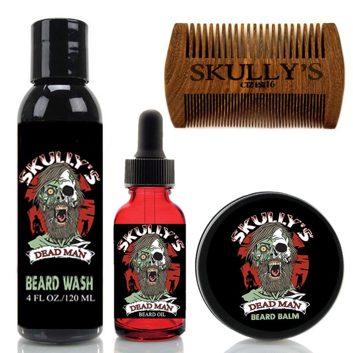 Dead Man Beard Care Kit (Beards Never Die Collection) Skully's beard oil the best beard oil, beard balm, beard wash, sandalwood beard comb, oil for growth and thickness. on the market.