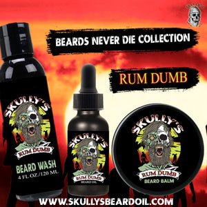 Rum Dumb Beard Oil, Beard Balm & Beard Wash by Skully's beard oil. The best beard oil for growth and thickness. Bears oil