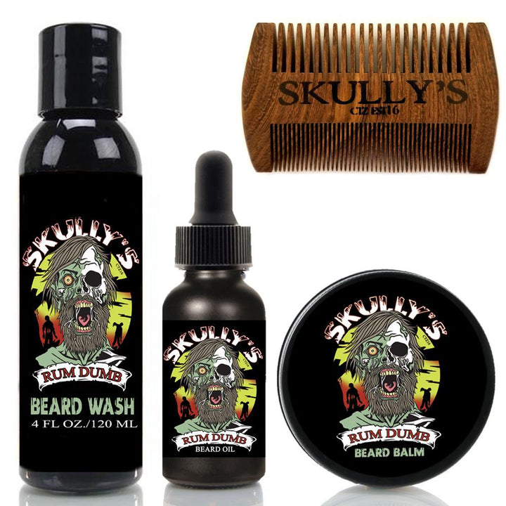 Rum Dumb Beard Care Kit (Beards Never Die Collection) Beard oil, beard balm, beard wash, beard comb.