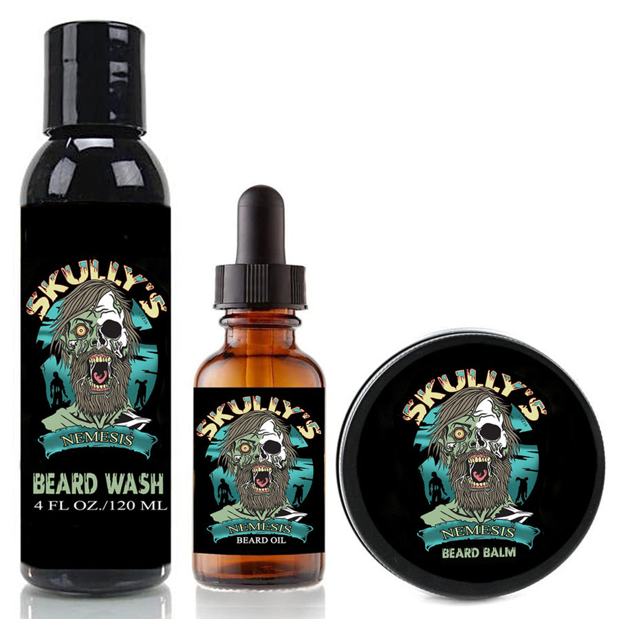 Nemesis Beard Oil, Beard Balm & Beard Wash Combo Pack (Beards Never Die Collection)