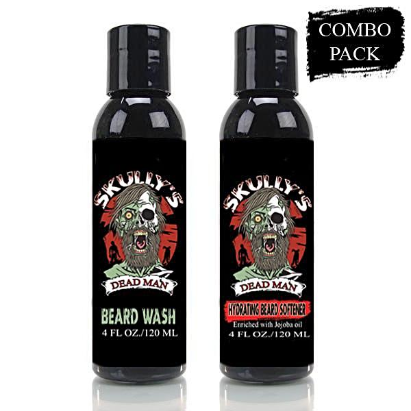 dead man hydrating beard softener and beard wash combo pack, beard softener, beard wash, the best beard wash, zombie beard by skullys beard oil