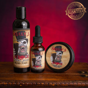 Scrooge Beard Care Combo Pack (Seasonal Limited Edition) by skullys beard oil, oatmeal stout beard oil, oatmeal stout beard balm