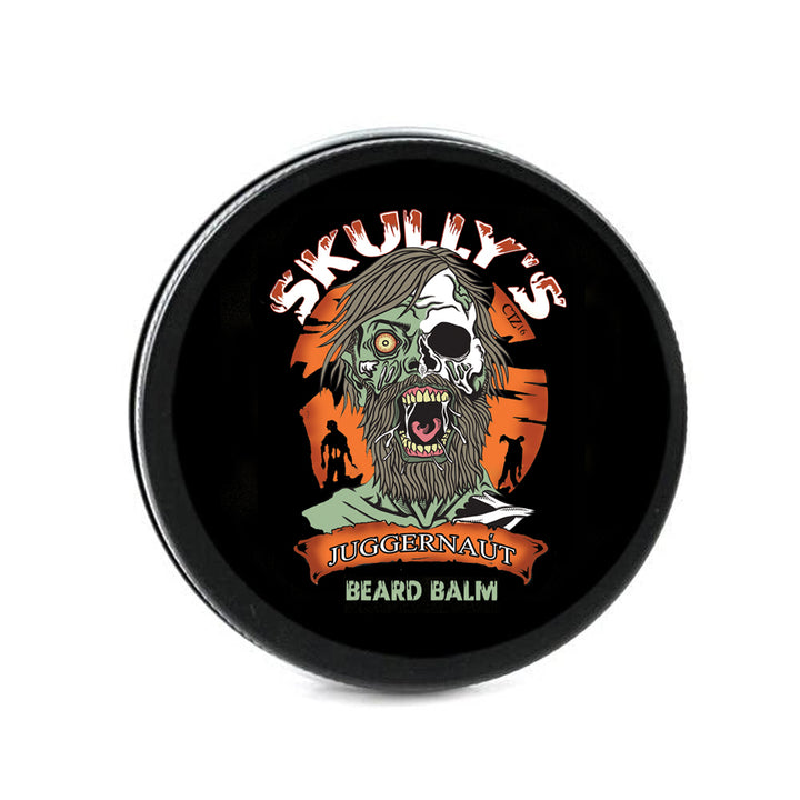 Juggernaut, vetiver beard balm, oudwood beard oil, leather beard balm by skullys beard oil