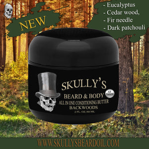 Backwoods Beard & Body All In One Conditioning Butter 2 oz, eucalyptus beard butter, beard butter woody by skullys beard oil