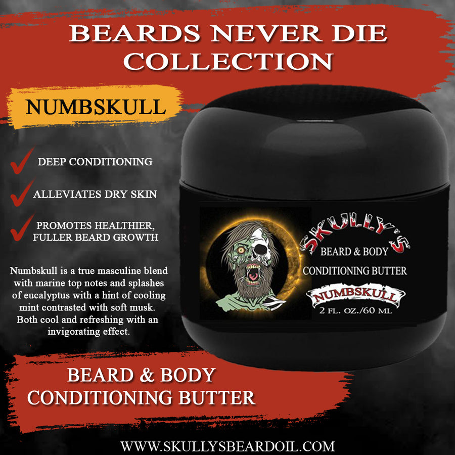 Numbskull beard butter,  Beard & Body All In One Conditioning Butter 2 oz. , beard butter, bearded butter, butter beard by skullys ctz beard oil