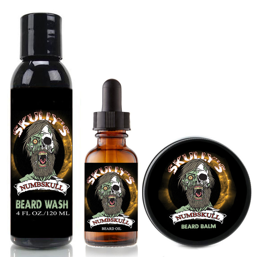 Numbskull Beard Oil, Beard Balm & Beard Wash Combo Pack (Beards Never Die Collection), by Skully's Beard Oil. The best beard oil, best beard balm, best beard wash