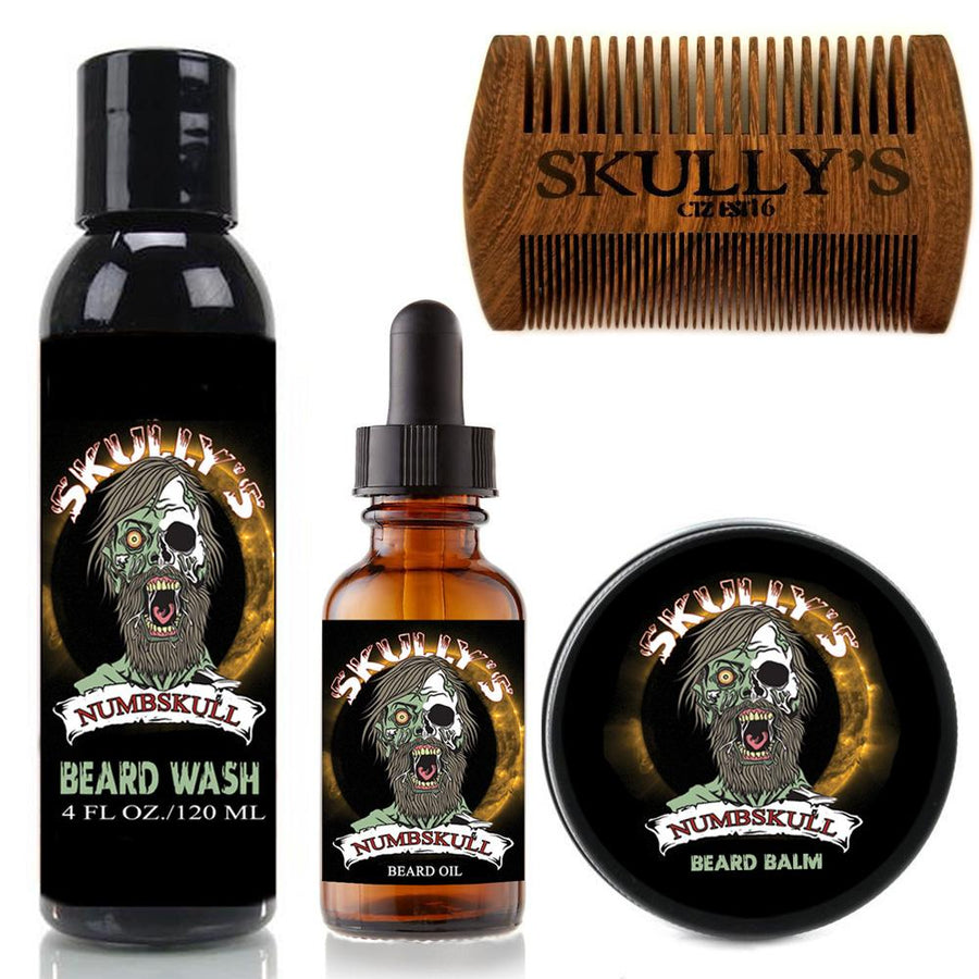 numb skull Beard Care Kit (Beards Never Die Collection) by skully's beard oil. The best beard growth oil on the market