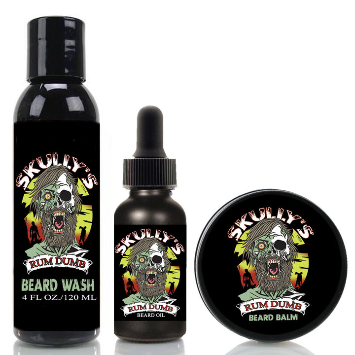 Rum Dumb Beard Oil, Beard Balm & Beard Wash Combo Pack (Beards Never Die Collection), Bay Rum beard oil, bay rum beard balm
