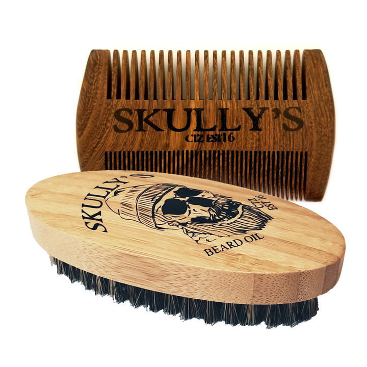 Boar Hair Bristle Beard Brush & Sandalwood Beard Comb Kit