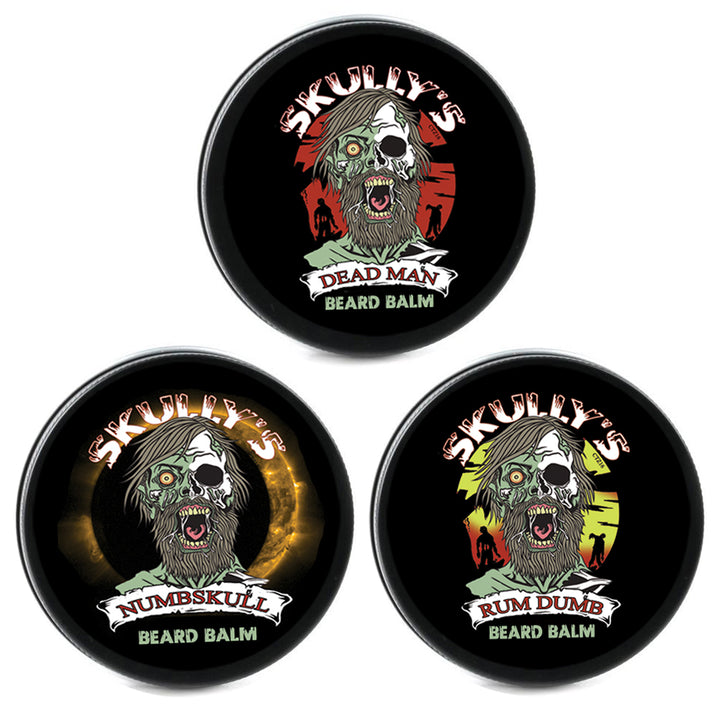 Skullys Dead Man beard balm, Rum Dumb Beard balm, Numbskull beard balm by Skullys Beard Oil