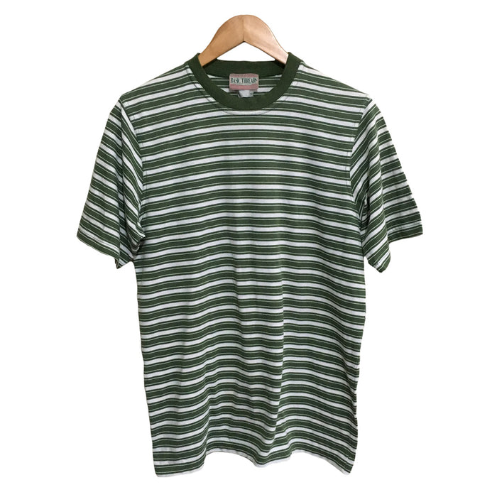 Basic Threads Green Striped T-Shirt Mens Medium