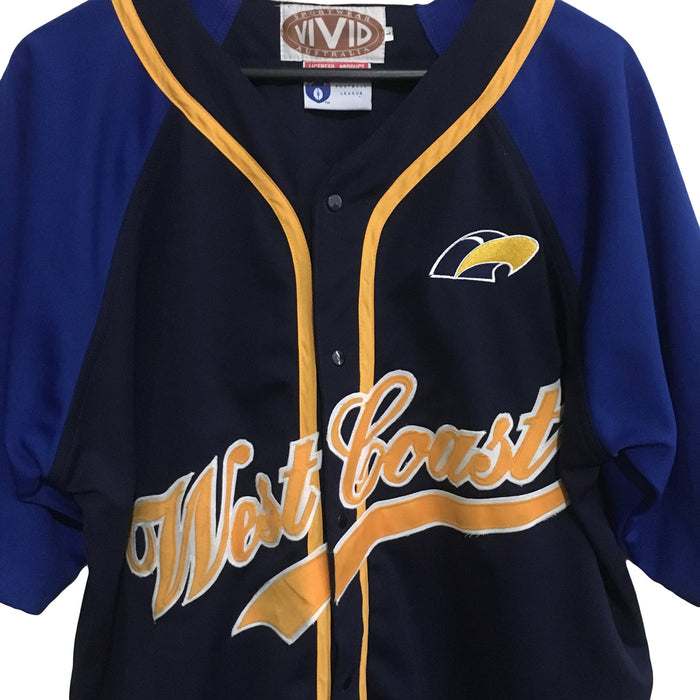 West Coast Eagles AFL 1990's Baseball Jersey Mens Large