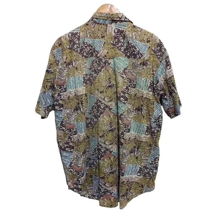 Blue Ridge Abstract Floral 1990's Vintage Button Shirt Mens Large