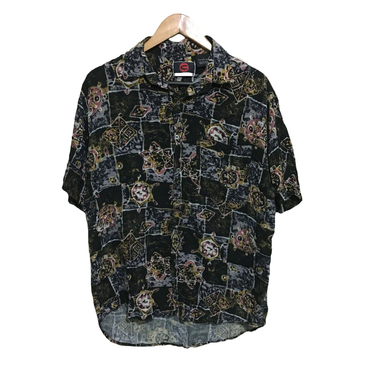 Club Abstract 1990's Vintage Button Shirt Mens Large
