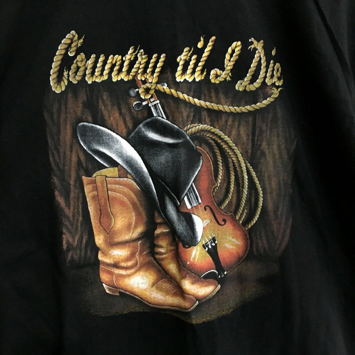 Country Til I Die Cowboy Vintage 90's T-Shirt Mens XL