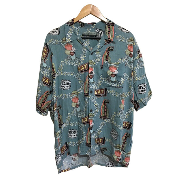 Ocean Currents Floral Diner 1990's Button Shirt Mens Large