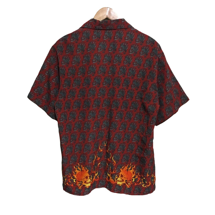 Download Flaming Skulls Vintage 1990's Button Shirt Mens Medium