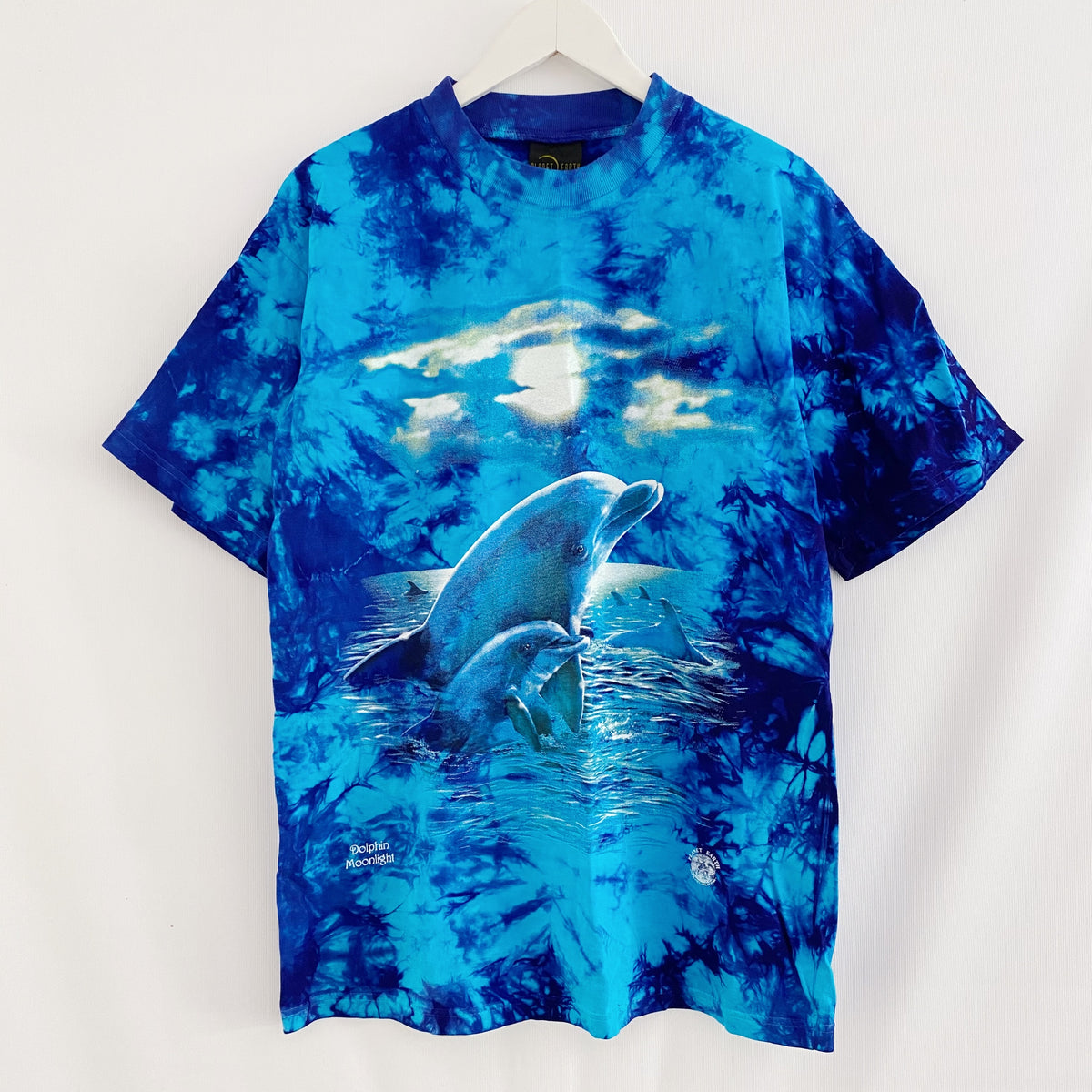 Dolphin Moonlight Planet Earth Tie Dye Vintage 90's T-Shirt Mens XL