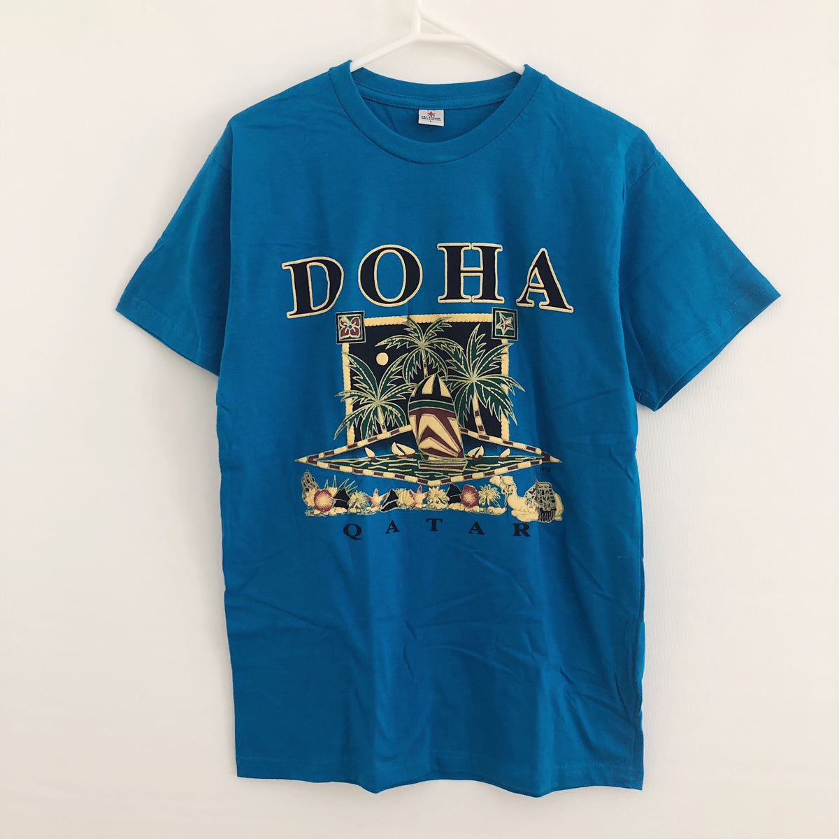 Doha Qatar Boat Puff Print 90's Vintage T-Shirt Mens Large (Fits Medium)