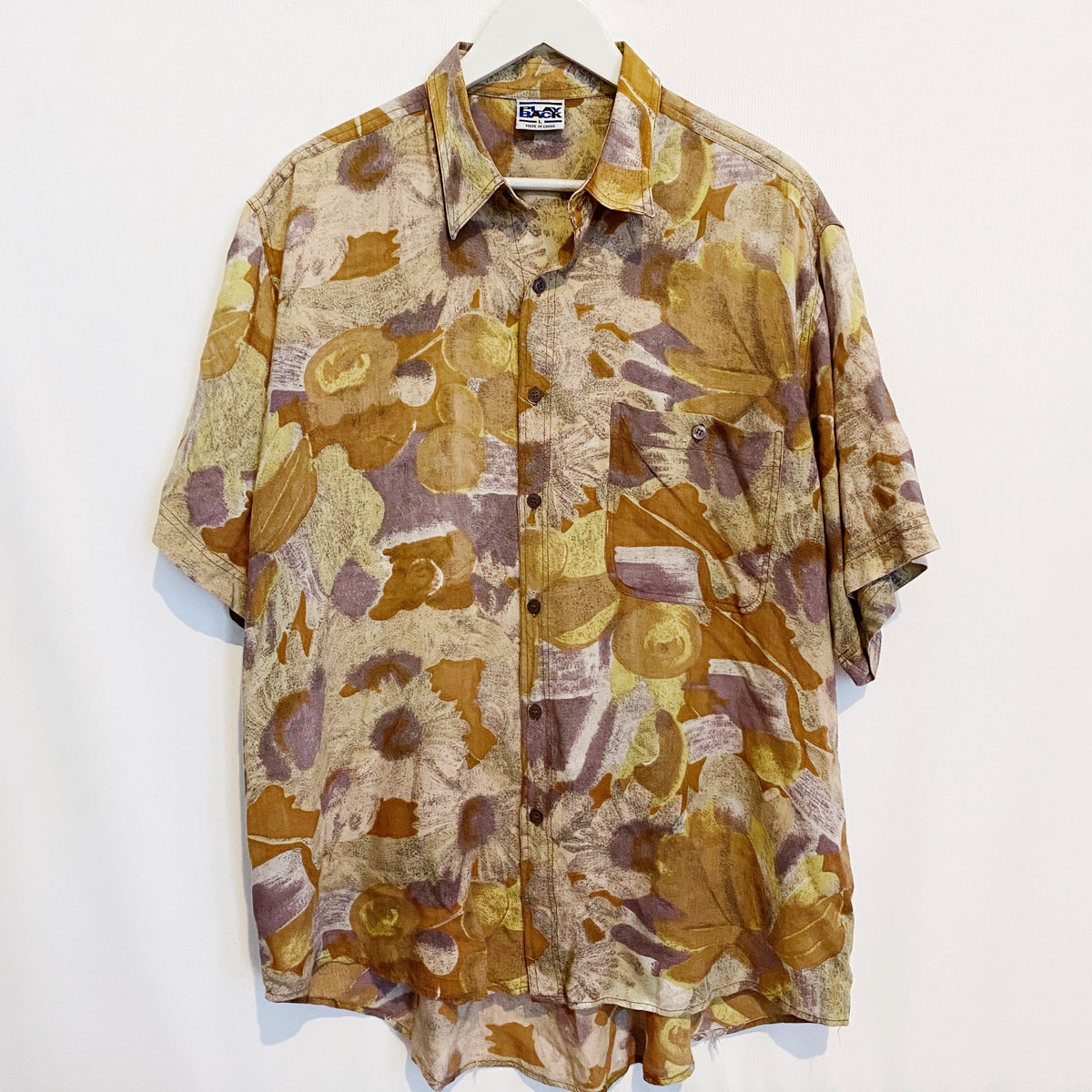 Playback Abstract Autumn Vintage 90's Button Shirt Mens Large