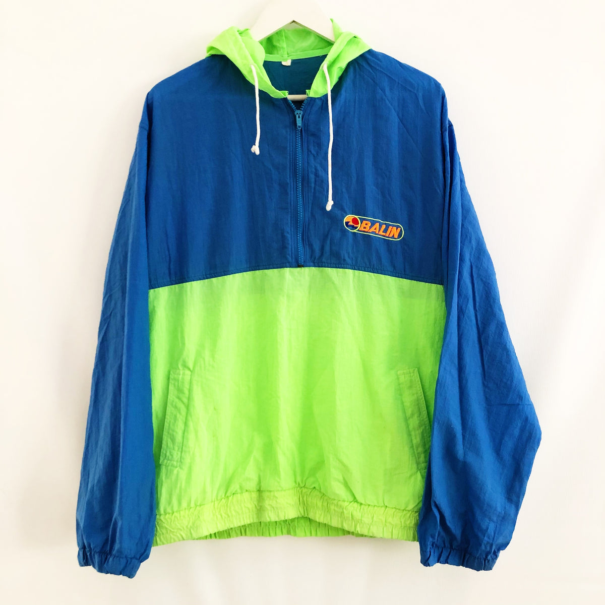 Balin Surfwear 1/2 Zip Windbreaker Vintage 90's Neon Mens Medium