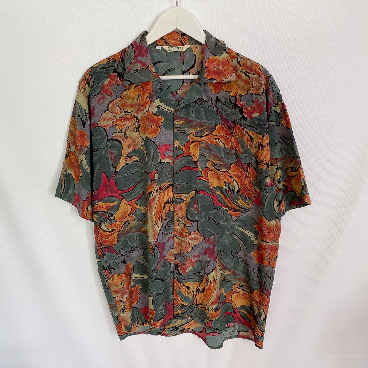 Seventi Abstract Autumn Vintage 90's Button Shirt Mens Small